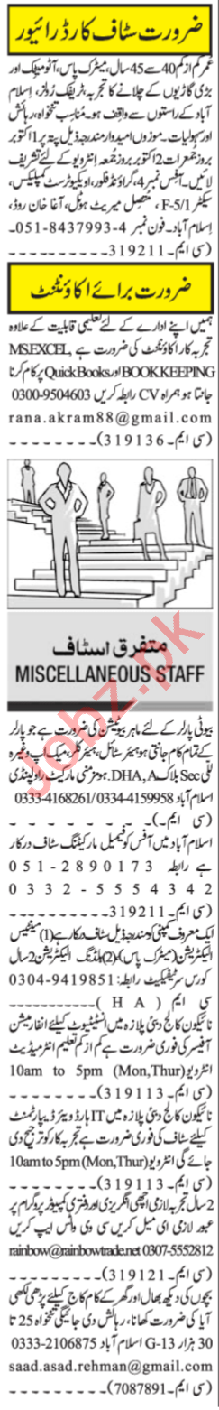 Accountant & Beautician Jobs 2020 in Islamabad
