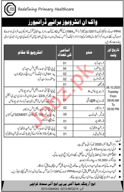 PPHI Sindh Jobs 2020 for Drivers