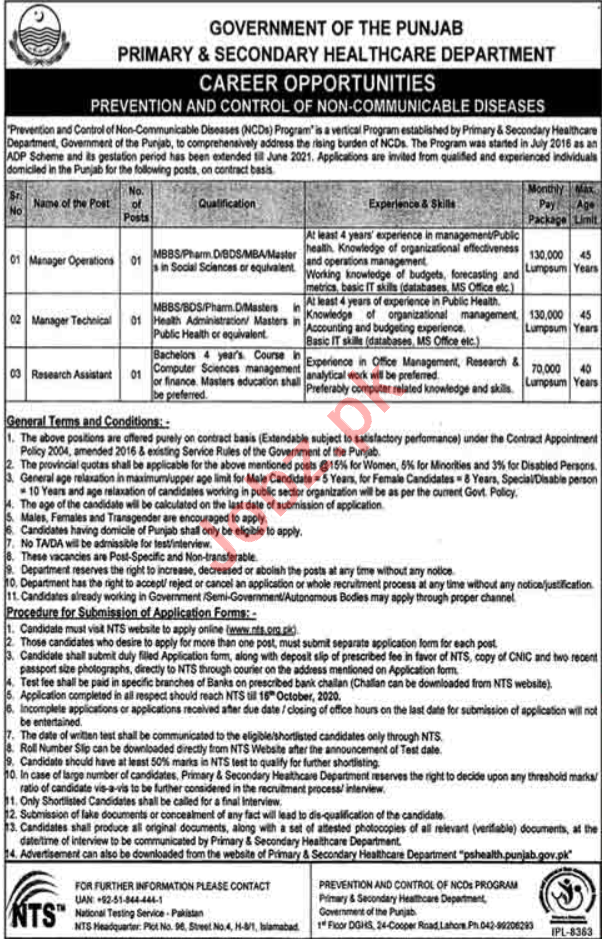 Prevention & Control of Non Consumable Diseases NCDs Jobs