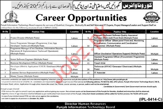 Punjab Information Technology Board PITB Lahore Jobs 2020
