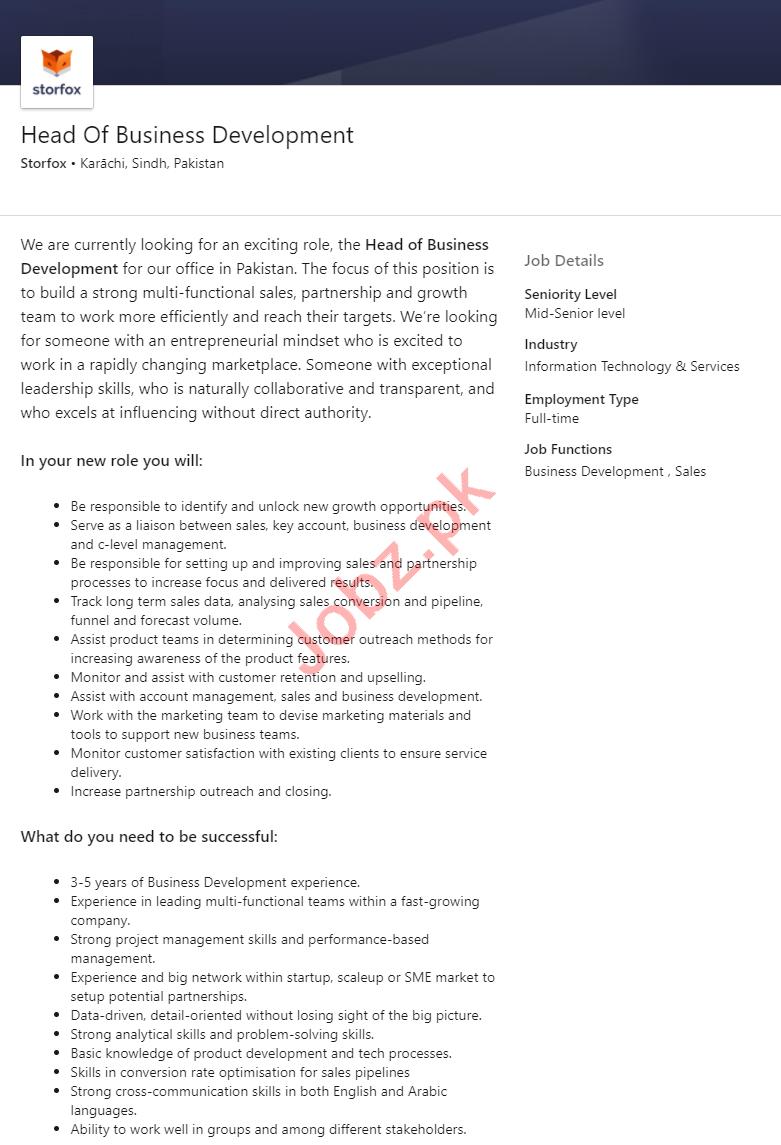 Storfox Pakistan Jobs 2020 Head of Business Development