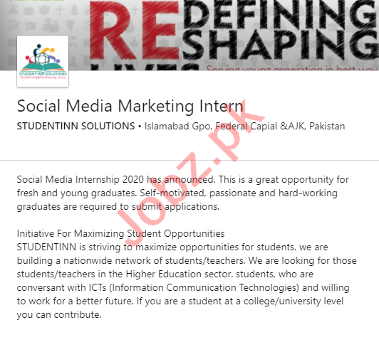 Student INN Solutions Islamabad Jobs 2020