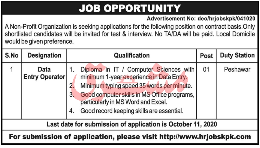Data Entry Operator DEO Job 2020 in Peshawar KPK