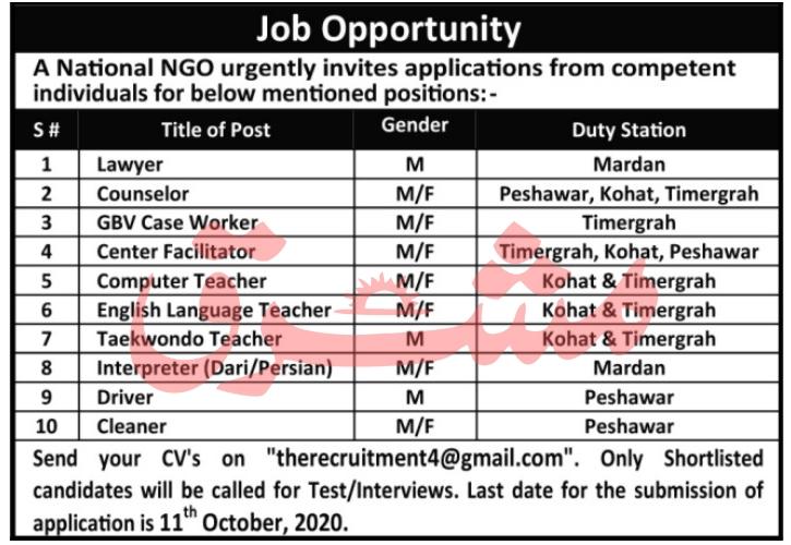 National Non Governmental Organization NGO Jobs 2020