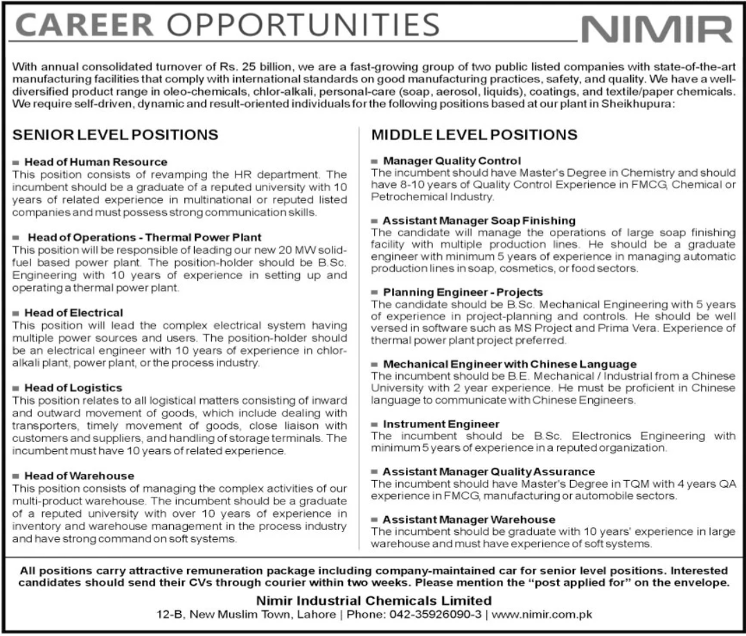 Nimir Industrial Chemicals Limited Jobs 2020