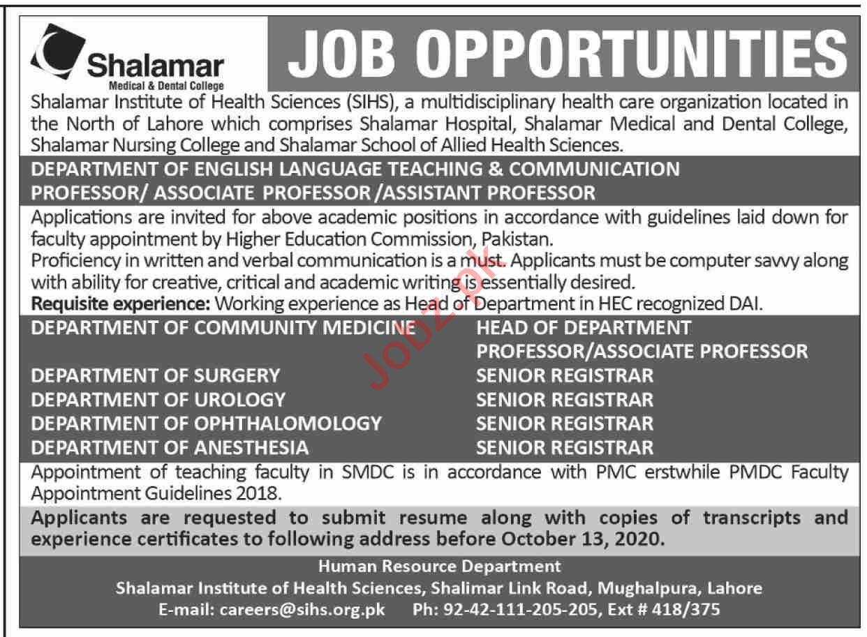 Shalamar Nursing College & School of Health Sciences Jobs