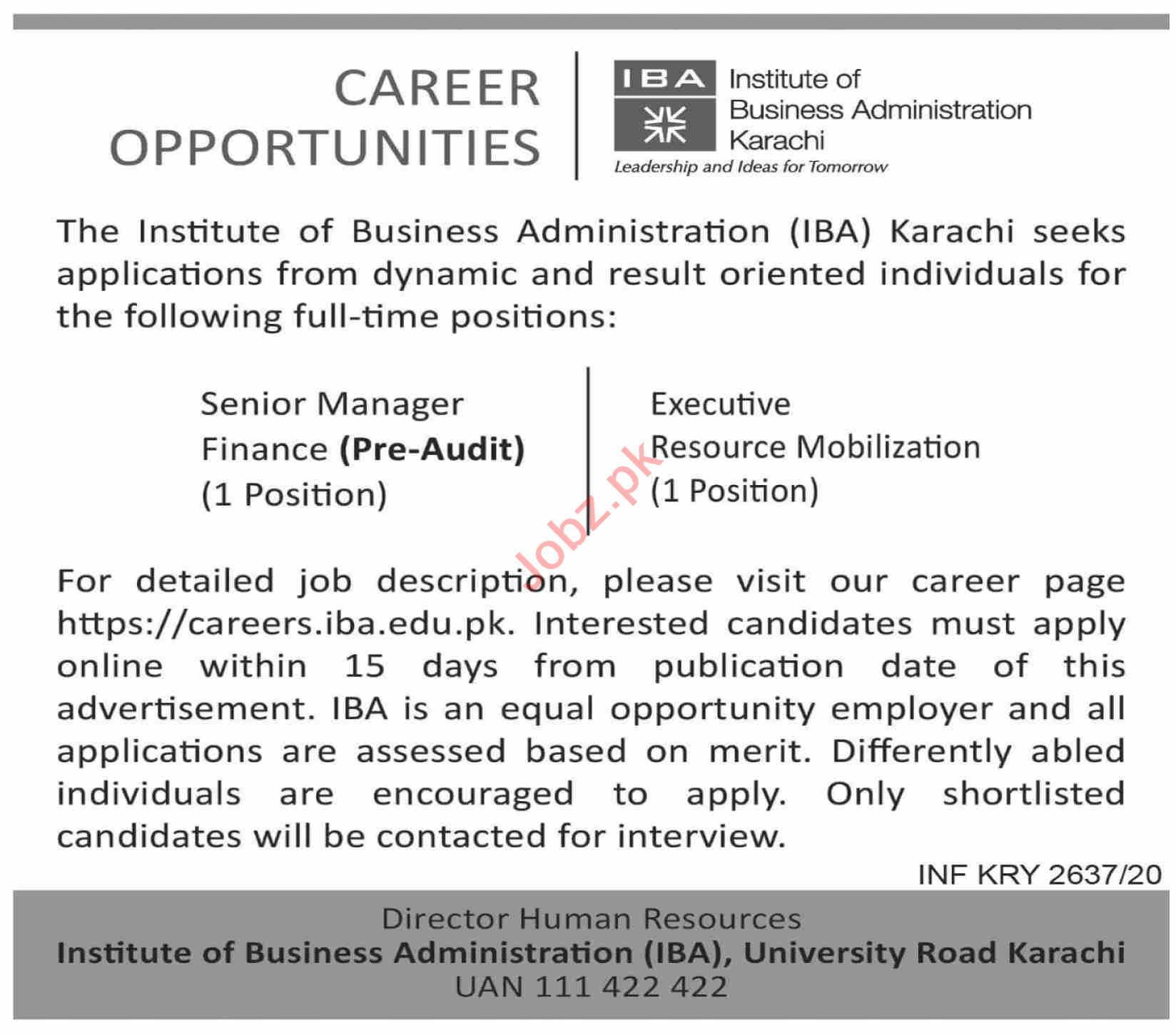 Institute of Business Administration IBA Jobs for Managers