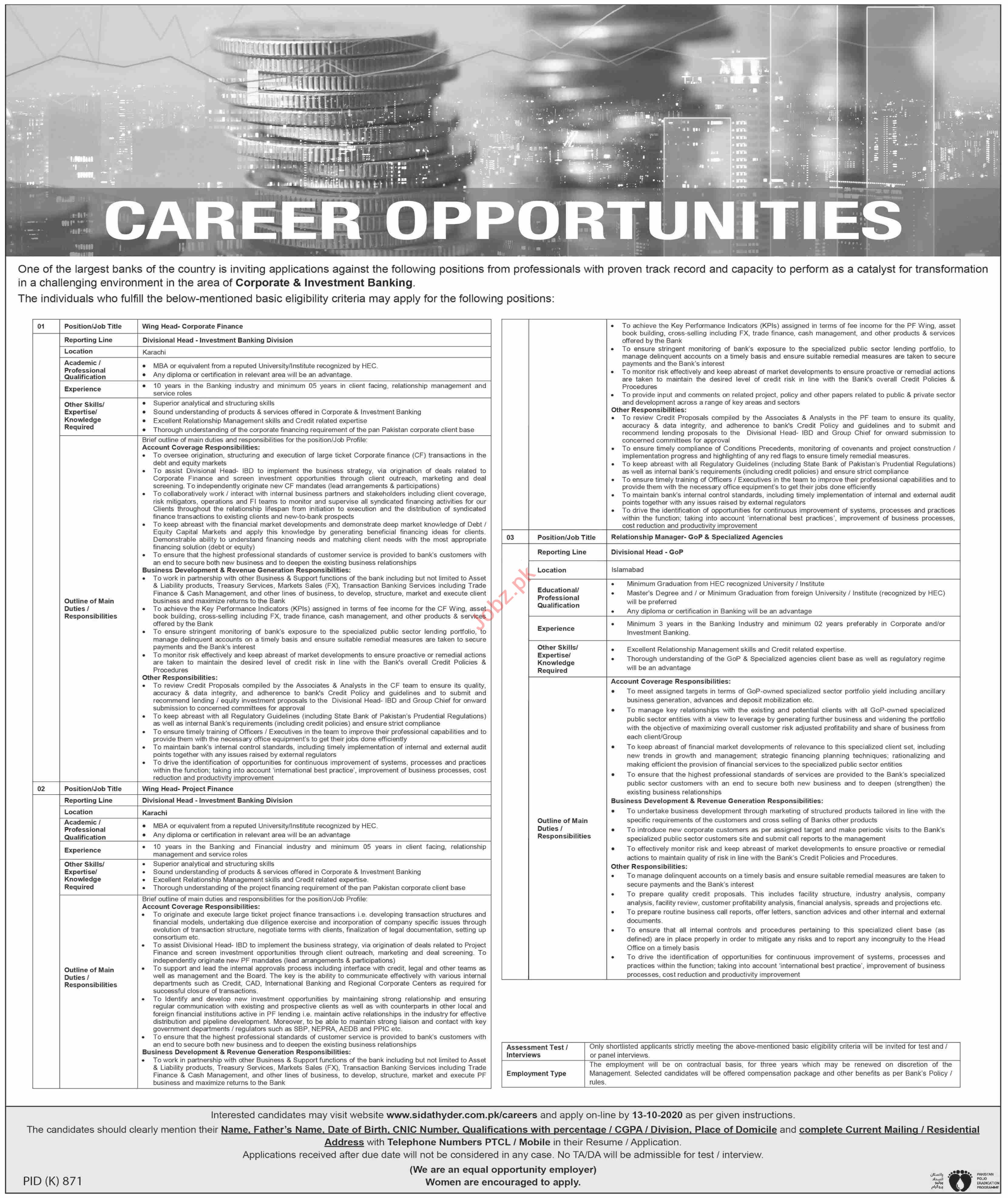 Wing Head Corporate Finance & Relationship Manager Jobs 2020