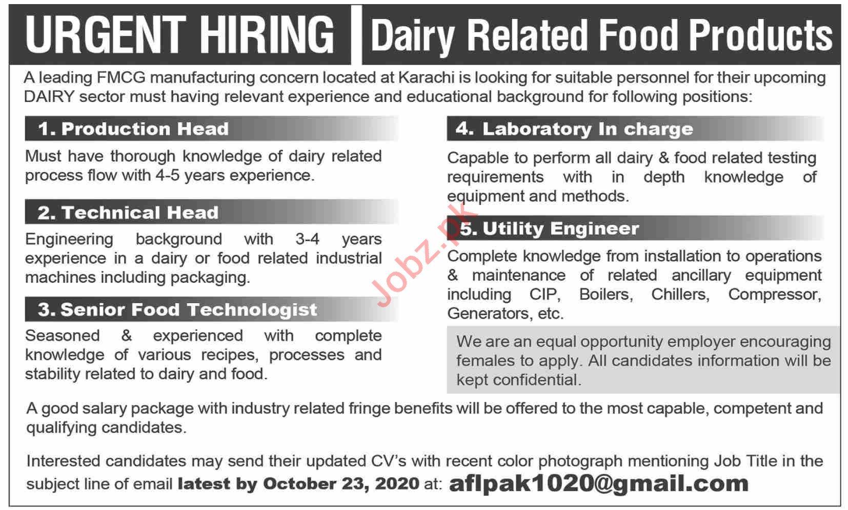 Production Head & Utility Engineer Jobs 2020 in Karachi