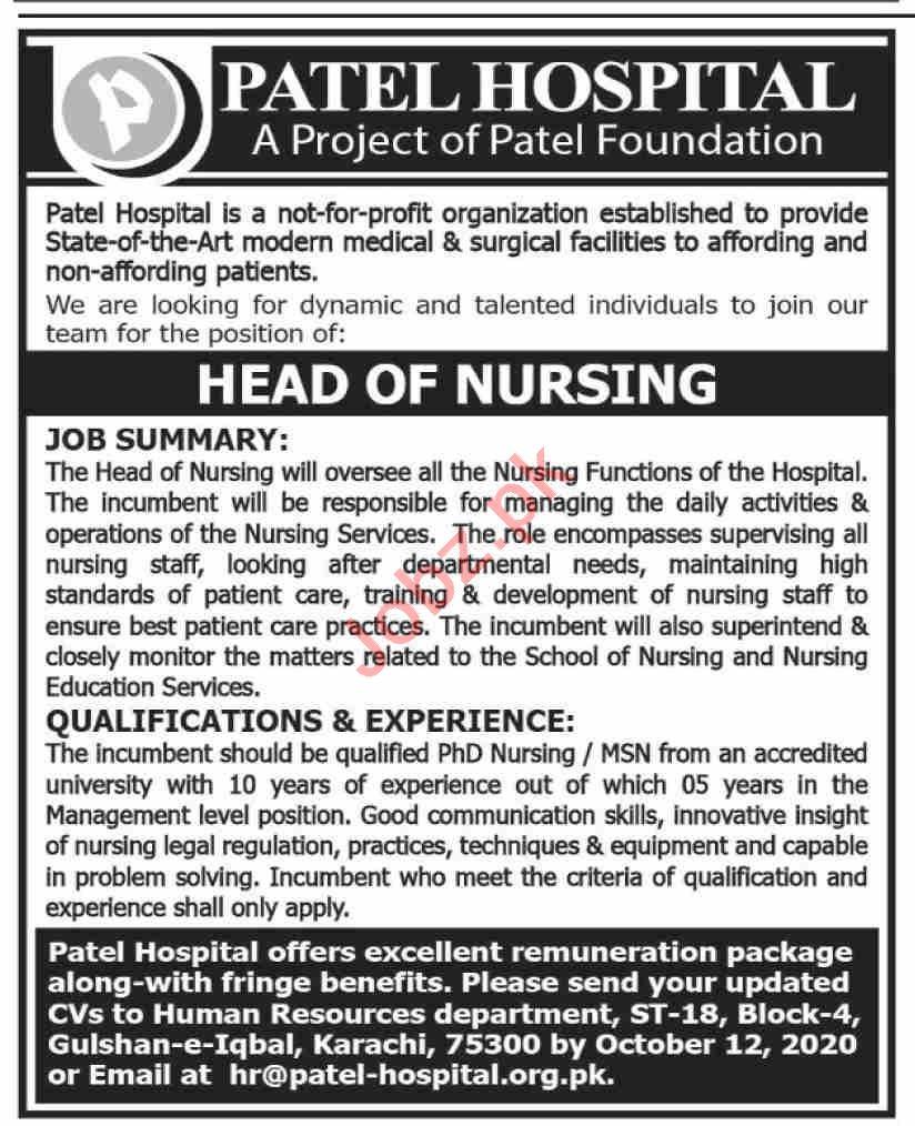 Patel Hospital Karachi Jobs 2020 for Head of Nursing