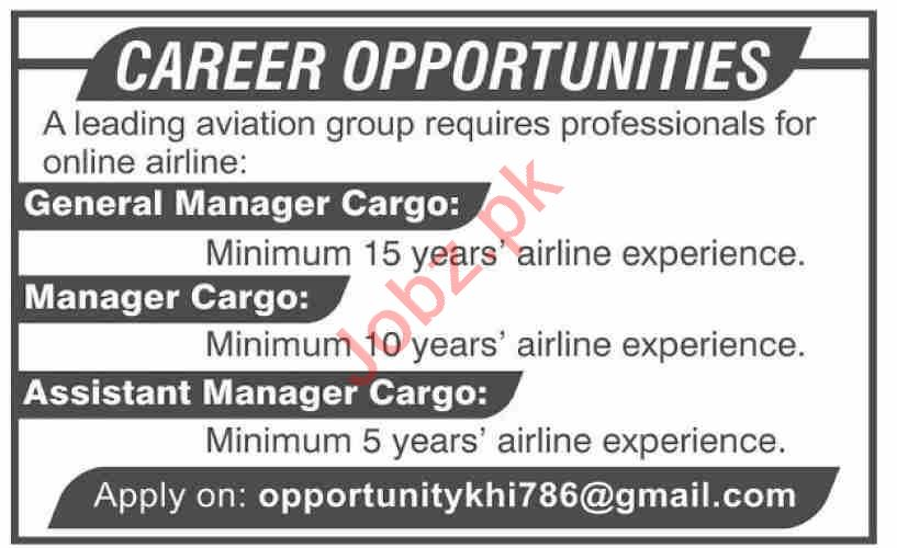General Manager Cargo & Manager Cargo Jobs 2020