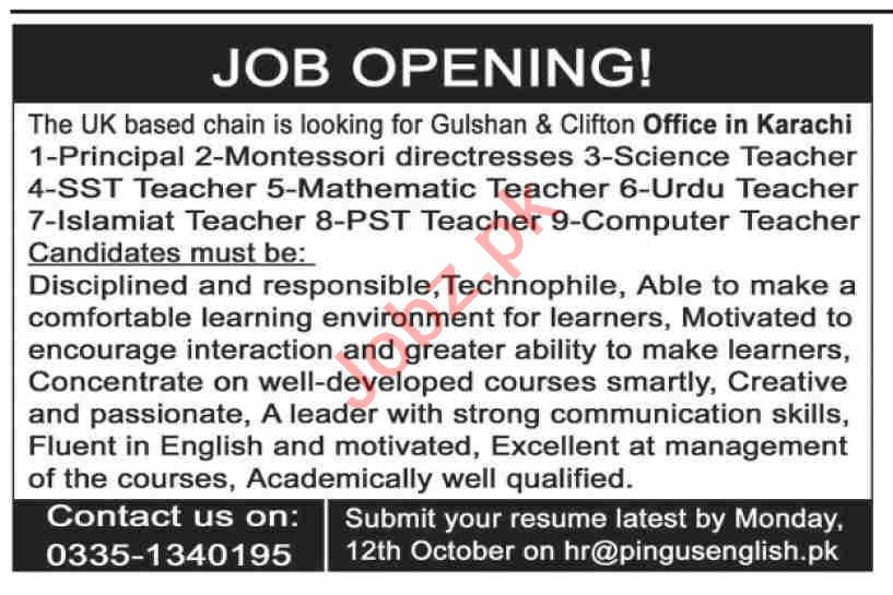 Pingus English School Karachi Jobs 2020 for Teachers