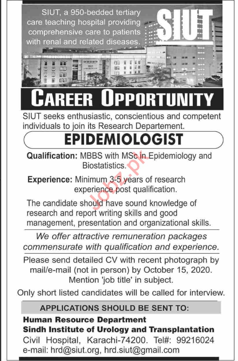 SIUT Karachi Jobs 2020 for Epidemiologist
