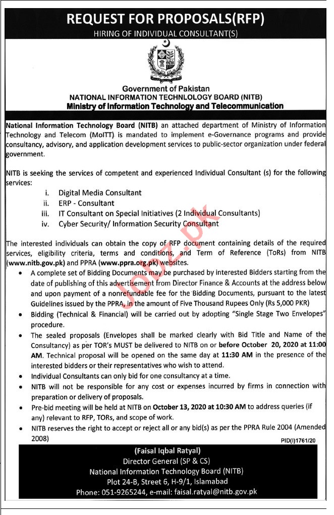 Ministry of Information Technology & Telecom NITB Jobs 2020