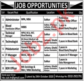 Blood Transfusion Officer & Technical Manager Jobs 2020