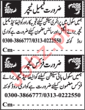 Teacher & Coordinator Jobs 2020 in Quetta