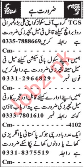 Male & Female Teaching Staff Jobs 2020 in Quetta