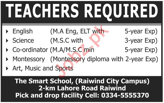 The Smart School Lahore Jobs 2020 for Teacher & Coordinator