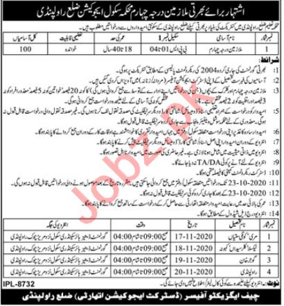 Punjab School Education Department Rawalpindi Jobs 2020