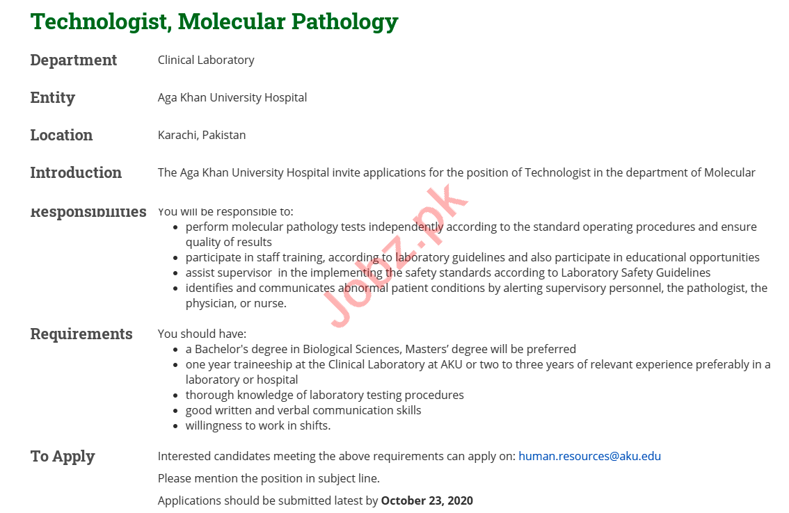 Aga Khan University Hospital AKUH Jobs 2020 for Technologist