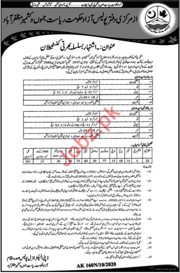 Azad Jammu & Kashmir Police Jobs 2020 for Constables