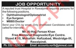 MBBS Doctor & Eye Surgeon Jobs 2020 in Rawalpindi