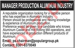 Manager Production Jobs 2020 in Popular Group of Industries