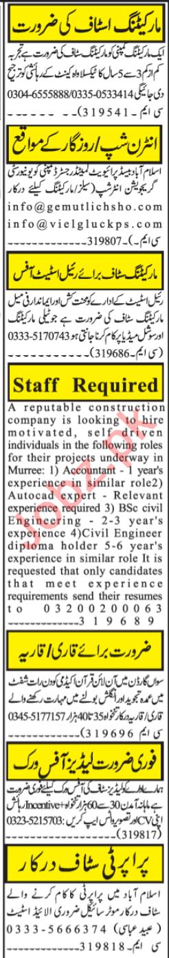 Telemarketing Executive & Civil Engineer Jobs 2020