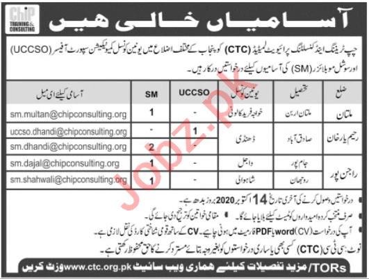 CHIP Training & Consulting CTC South Punjab Jobs 2020