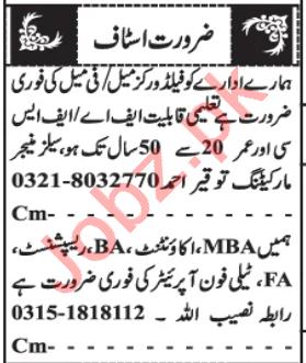 Field Worker & Accountant Jobs 2020 in Quetta