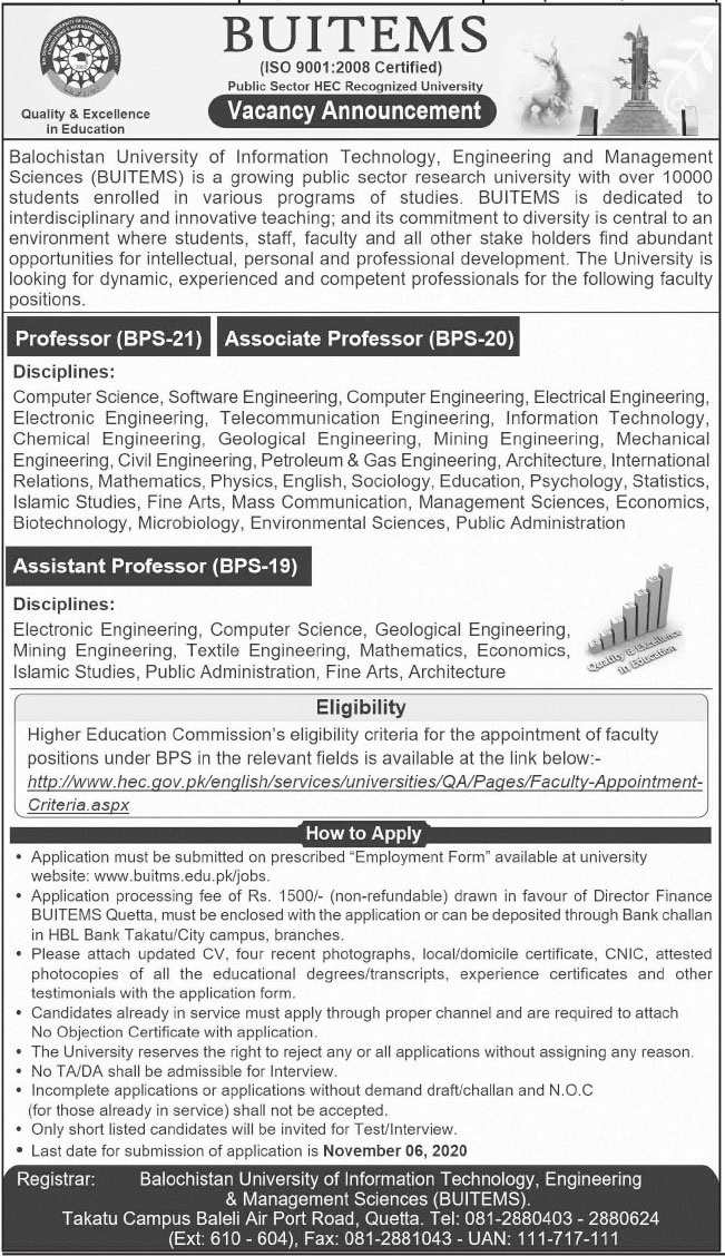 BUITEMS Faculty Jobs 2020 in Quetta Balochistan