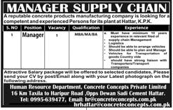 Manager Supply Chain Job 2020 in Hattar KPK