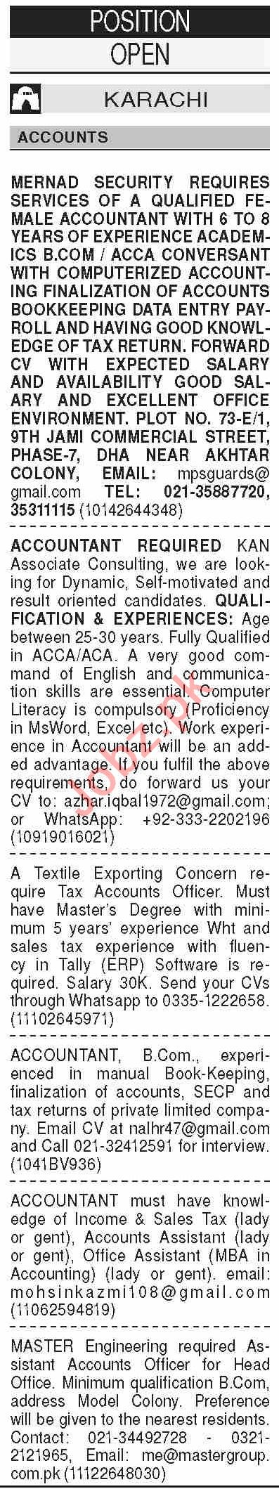 Dawn Sunday Classified Ads 11 Oct 2020 for Accounts Staff
