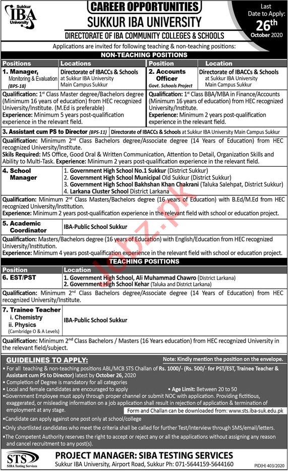 Directorate of IBA Community Colleges & Schools Jobs 2020