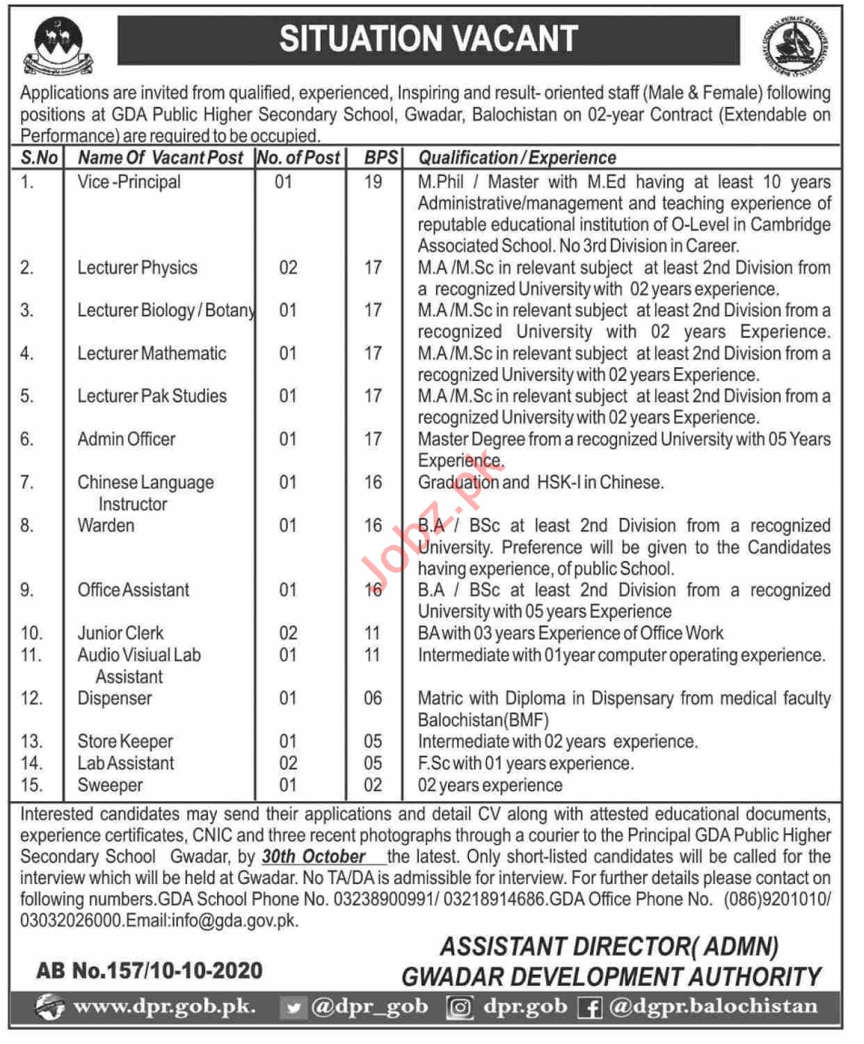 GDA Public Higher Secondary School & College Jobs 2020