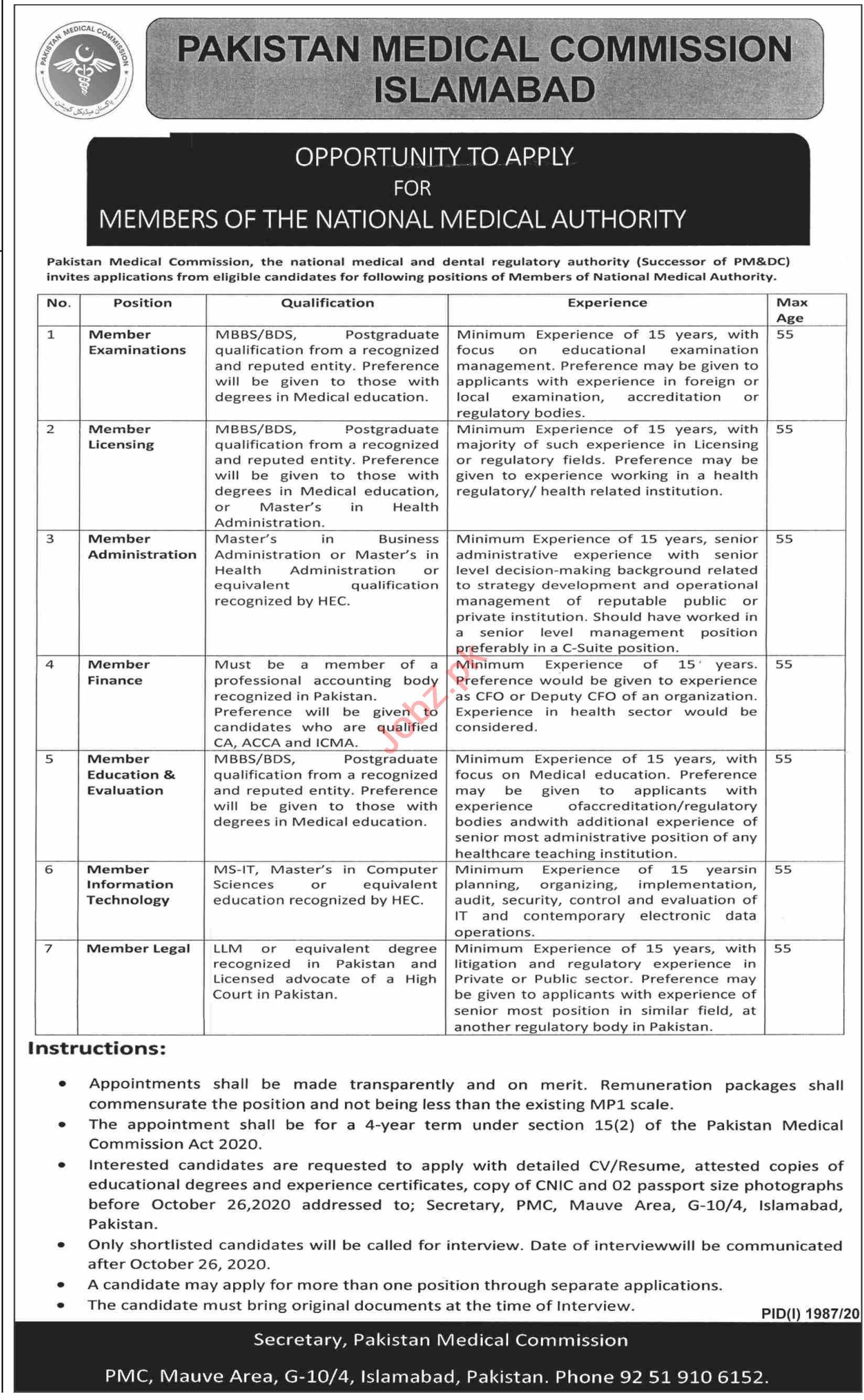 Pakistan Medical Commission PMC Islamabad Jobs 2020