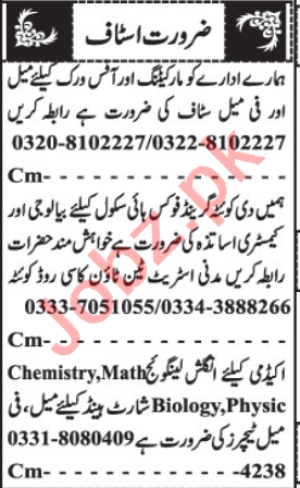 Marketing Manager & Educational Staff Jobs 2020 in Quetta