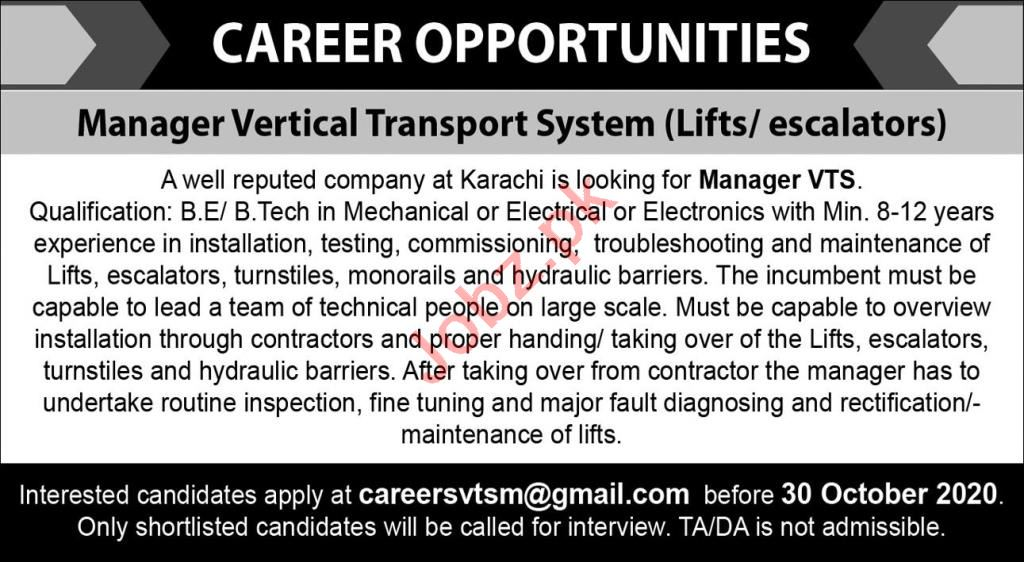Manager VTS & Manager Vertical Transport System Jobs 2020