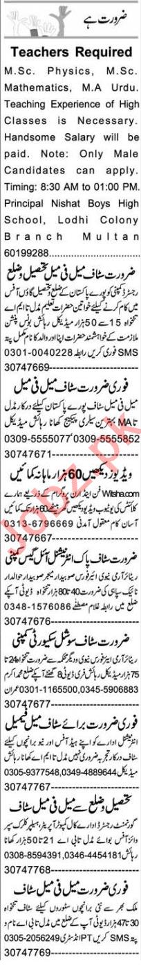 Software Engineer & Teacher Jobs 2020 in Multan