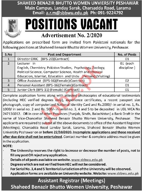 Shaheed Benazir Bhutto Women University SBBWU Jobs 2020