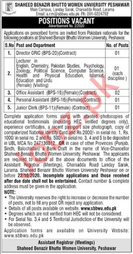 SBBWU University Peshawar Jobs 2020 for Lecturers & Director