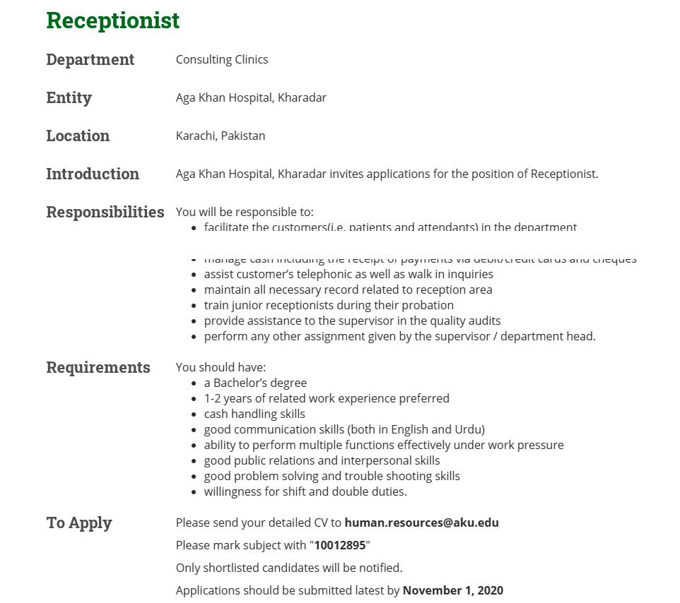 Aga Khan Hospital AKH Karachi Jobs 2020 for Receptionist