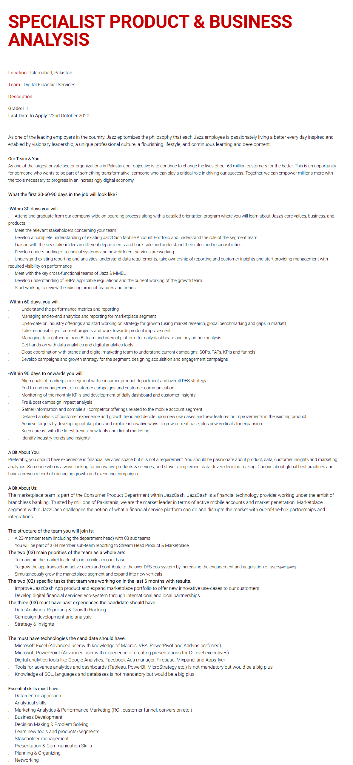 Specialist Product & Business Analysis Jobs 2020