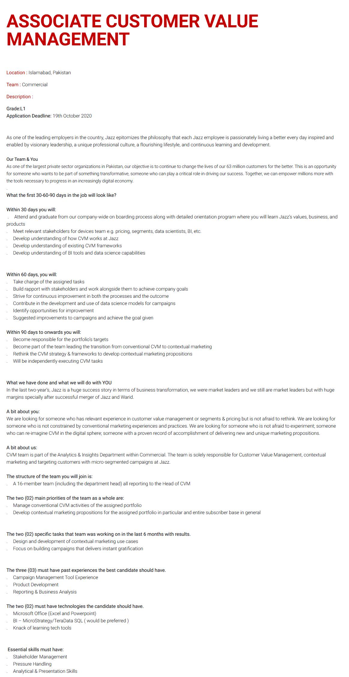 Associate Customer Value Management Jobs 2020 in Islamabad
