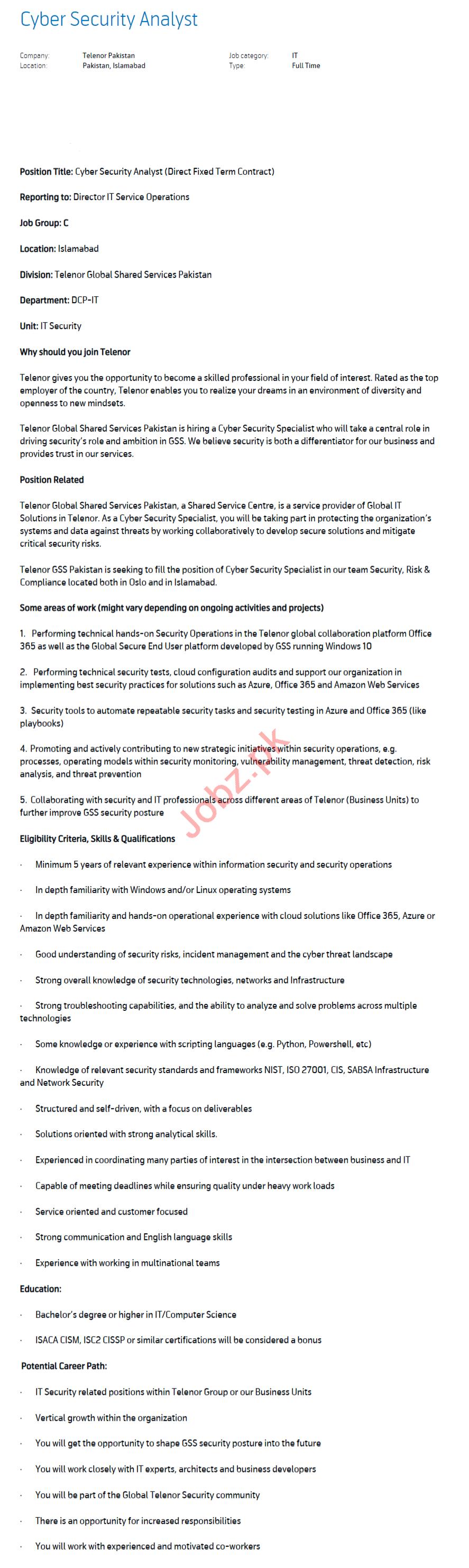Cyber Security Analyst Jobs 2020 Telenor Pakistan