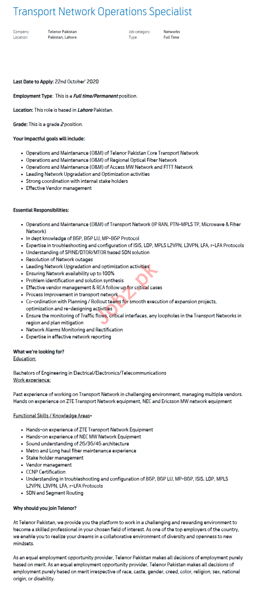 Transport Network Operations Specialist Jobs 2020 in Lahore