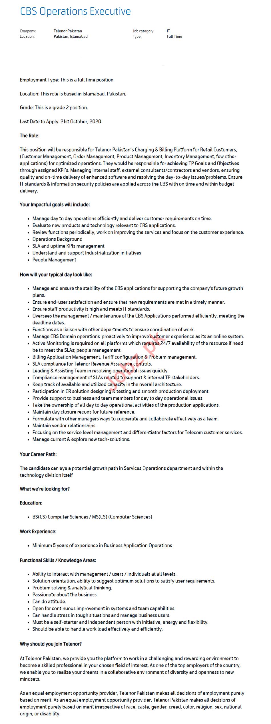 CBS Operations Executive & Operations Executive Jobs 2020