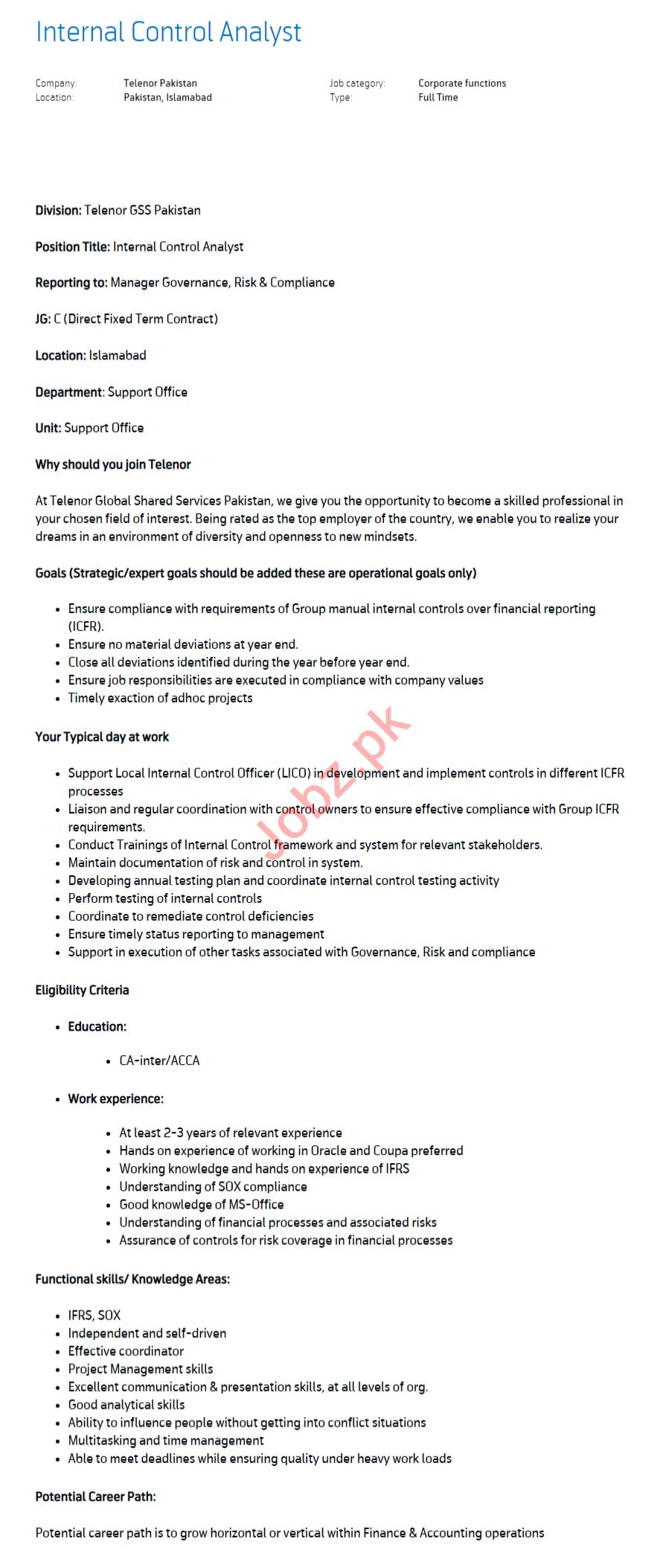 Internal Control Analyst Jobs 2020 in Islamabad