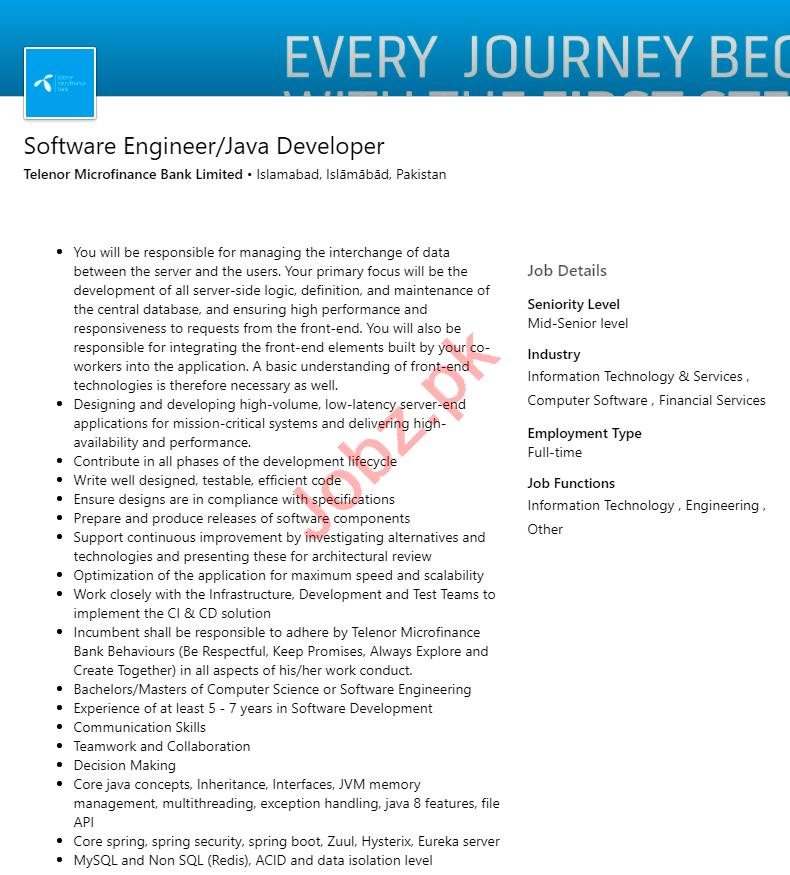 Software Engineer & Java Developer Jobs 2020 in Islamabad