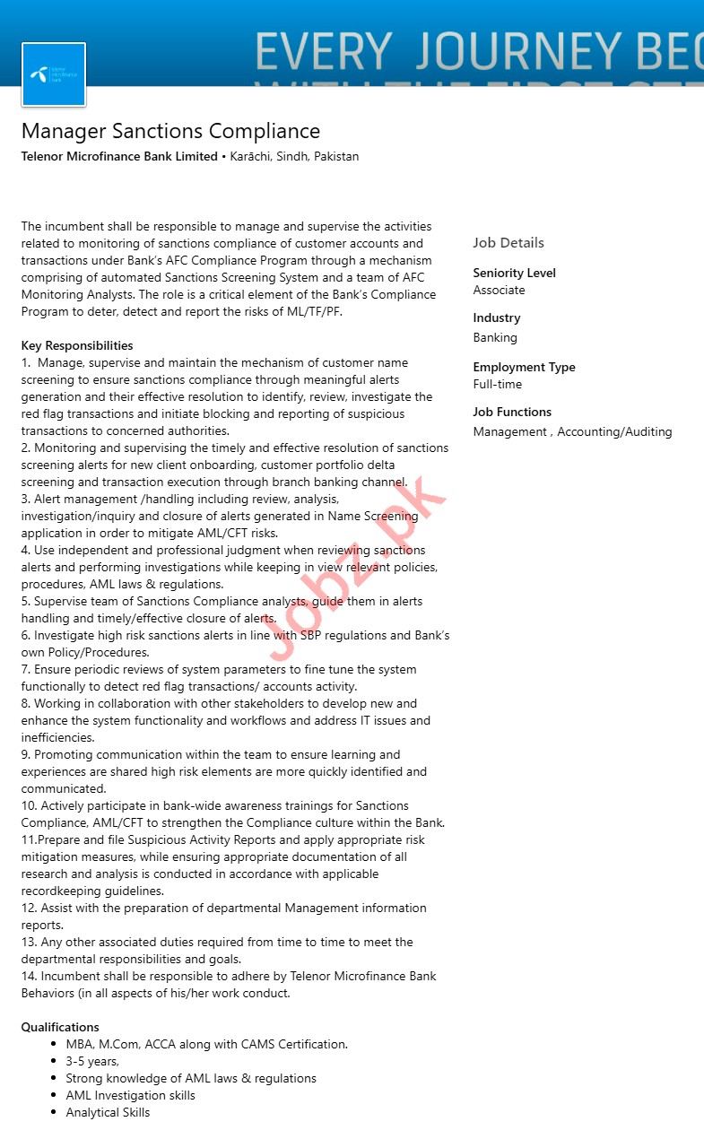 Manager & Manager Sanctions Compliance Jobs 2020 in Karachi